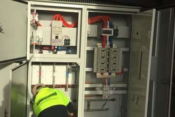 Greenwood Electrical Staff working on the main switch station for the Parks Road Redevelopment