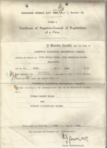 Certificate of registration Greenwood Electrical in 1927